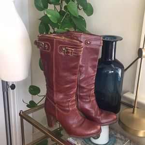 Coach cognac leather boots
